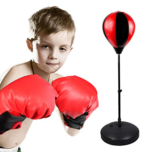 Kids Youth Boxing Set, Punching Bag Boxing Set Toy for Boys Girls, Height Adjustable Punching Ball Stand with Boxing Gloves, Strong Durable Punching Ball for kids Stress Relief Fitness