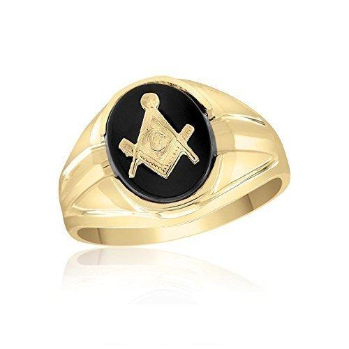 10 Karat Yellow Gold Masonic Ring - Oval Onyx by Ice Gold Jewellery Inc