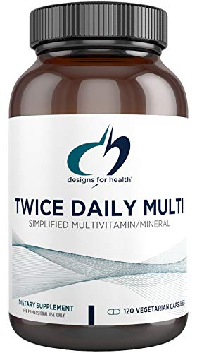 Designs for Health Twice Daily Multi – Iron-Free Adult Multivitamin Supplement with Active Folate Quatrefolic+ Chelated Minerals – Vitamins A, B6, C, D, E, and K, Riboflavin, Thiamin (120 Capsules)
