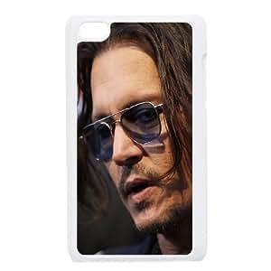 Johnny Depp Glasses Look Gesture Actor 60962 funda iPod Touch 4 caja funda del teléfono celular blanco cubierta de la caja funda EEECBCAAJ03607