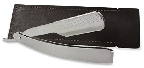 Straight Edge Barber Shaving Razor w/Leather Case, 8.5-Inch Stainless Steel Folding Straight Razor, Includes Handmade in the USA Leather Storage Case