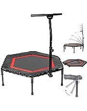 SportPlus opvouwbare fitness trampoline, opklapbare poten, Ø 126 cm, stille rubberen veering, 5-voudig in hoogte verstelbare handgreep, incl. randafdekking, gebruikersgewicht tot 130 kg (Opvouwbar, Rood)