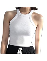 Sexy Hanging Neck Slim-Type Tank Toplightweight Spiral Cotton Sleeveless Top Perfectly Show Exquisite Clavicle and Round Shoulders,A,ONE Size