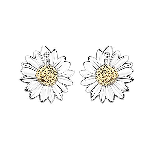 925 Silver Plated Vintage Cubic Zirconia Gold Sunflower Womens Stud Earrings,8MM