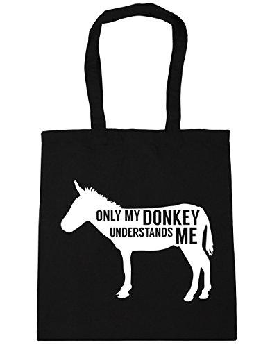 HippoWarehouse solo My Donkey entiende me Tote Compras Bolsa de playa 42cm x38cm, 10litros negro