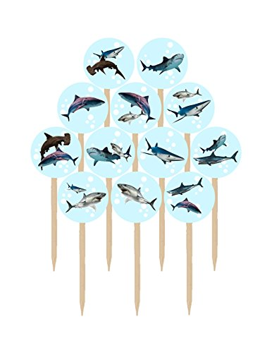 Price comparison product image Armor Line Designs Sharks Double Sided Images Cupcakes Picks Cake Topper - 12