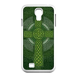 Samsung Galaxy S4 9500 Cell Phone Case White_Radiant Cross Green Kihsg