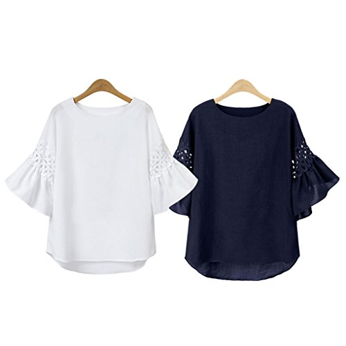 QHGstore Hollow Out Mid Sleeve Sommer Tops Bluse Baumwoll Leinen Damen Solid Color Shhirts XL