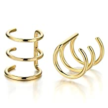 2pcs Gold Color Stainless Steel Ear Cuff Ear Clip Non-Piercing Clip On Earrings for Men and Women