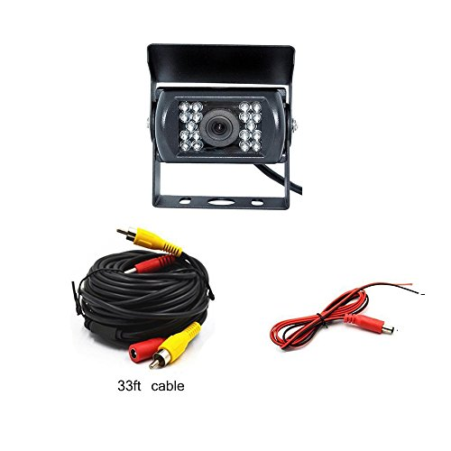 Camecho Front/Side View Car Backup Camera Without Guide Line 18 IR Night Vision IP 68 Waterproof 12V 24V Vehicle Backup Kits (Front View Camera + 33 ft Cable) -