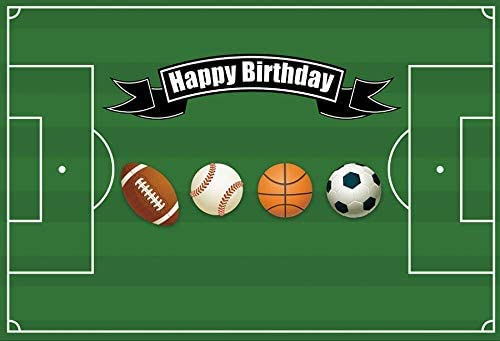 Happy Birthday Backdrop 10x6.5ft Balls Polyester Photography Background Green Playground Football Basketball Baseball Soccer Sport Boys Children Baby Party Banner Photo Prop Portraits Shoot