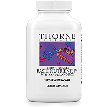 Thorne Research - Basic Nutrients IV with Copper and Iron - Multiple Vitamin-Mineral Supplement with Copper and Iron - 180 Capsules