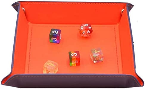 MOGOI Dice Rolling Tray, PU Leather Collapsible Dice Tray Key Tray Wallet Coin Box Tray for Change Key Wallet Coin and Board Games
