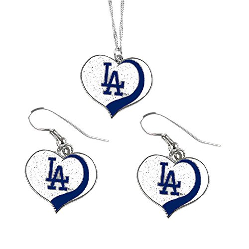 aminco Los Angeles Dodgers MLB Sports Team Logo Charm Gift Glitter Heart Necklace and Earring Set