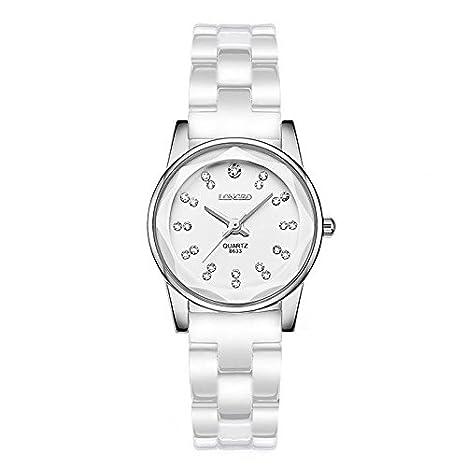 Reloj de pulsera para mujer de cerámica color blanco reloj de cuarzo diamond reloj de pareja