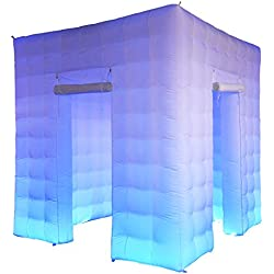 Inflatable Photo Booth Enclosure with 17 Colors LED Changing Lights and Inner Air Blower for Weddings Parties Promotions Advertising (2 Doors)