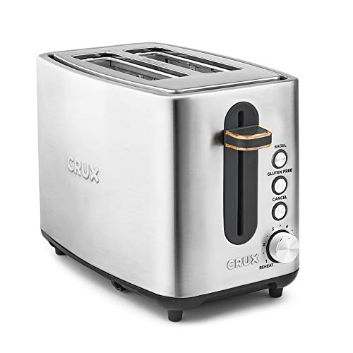 CRUX 2-Slice Stainless Steel Toaster with 6 Setting Shade Control & Gluten Free Function, Silver