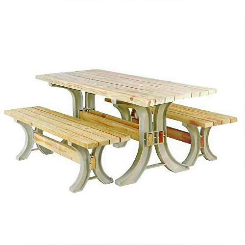 Convertible Picnic Table Outdoor Resin Frame Large Wood Parts Kit Family Dining Patio Camping Garden Pool Backyard Bench Contemporary & eBook By JEFSHOP.