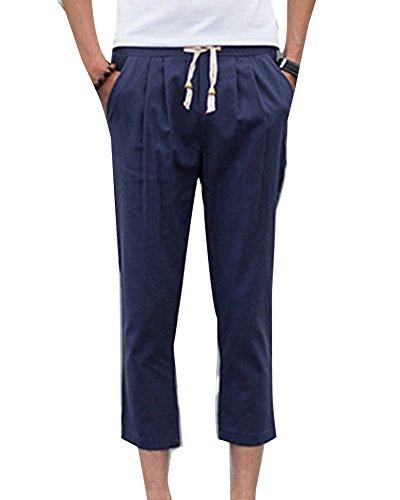 Hombre Cintura Suelto Transpirable Vintage Lino Tallas Grandes Harem  Pantalones Baggy Armada De Chino Elástica AqwAfxzB dd733cfb5cfc