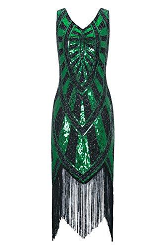 Metme 1920s Vintage Inspired Fringe Embellished Gatsby Flapper Midi Dress Prom Party, Black+green, Medium]()