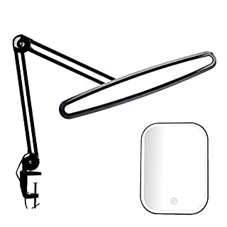 Bemelux LED Task Lamp with Clamp, Bright 117PCS LEDs, Metal Swing Arm, 2200 Lumens Dimming Led Desk Lamp for Office Home Reading Dorm Workbench, 23 Inch Wide Table Lamp with a Free Makeup Mirror