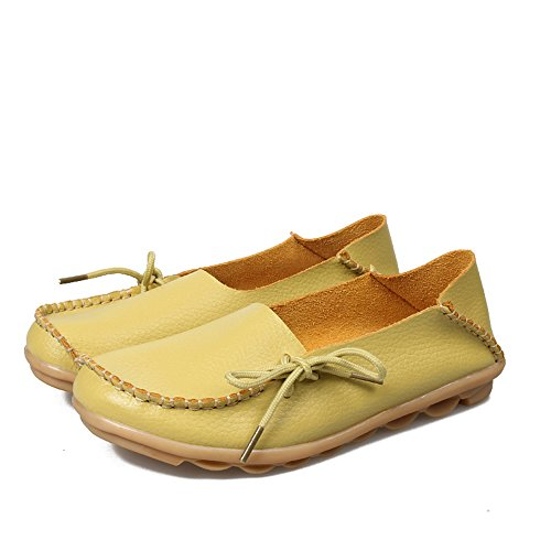 Yellow Womens on Loafers up Shoes Lace Flat Casual Slip Driving Light Leather Slipper SUNROLAN Cowhide 6w8dxq6nH