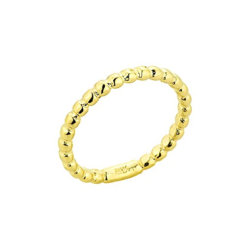 Dainty 10k Yellow Gold Mid Finger Beaded Knuckle Ring, Size 5.25