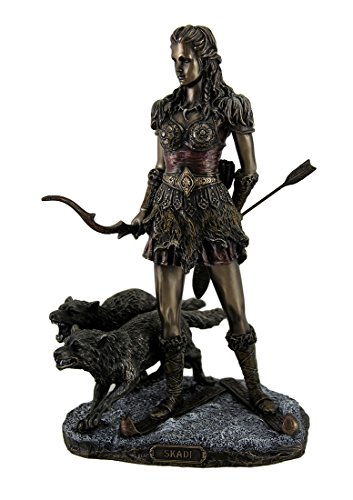 Resin Statues Skadi Norse Giantess Ski Goddess Of Winter And Mountains With Wolves Statue 8 X 10.5 X 7 Inches Bronze Model # WU76984A4 -  Unicorn Studios