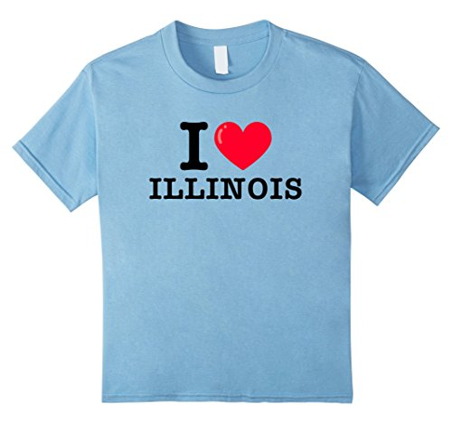 Kids I Heart Illinois Classic Typewriter Font T-Shirt 12 Baby Blue (Classic Illinois Shirt)