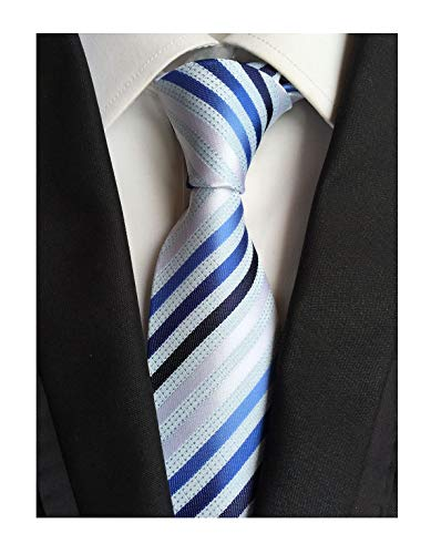 (Secdtie Men's Large Striped Jacquard Woven Silk Tie Formal Business Necktie (One Size, Blue White stripe))