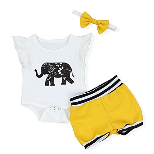 Oklady Baby Girls Clothes Twins Ruffles Elephant Romper Clothing Shorts Bowknot Headband (6-12 Months)