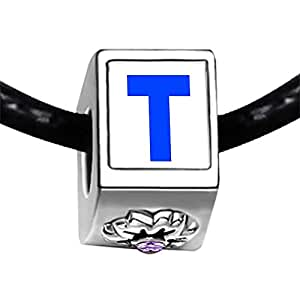 Chicforest Silver Plated Blue Letter T Photo Light Amethyst Crystal June Birthstone Flower Charm Beads Fits Pandora Bracelet