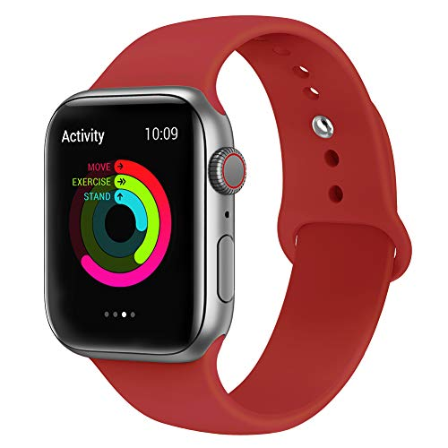 AdMaster Silicone Compatible for Apple Watch Band and Replacement Sport iwatch Accessories Bands Series 4 3 2 1 Red 42mm/44mm M/L