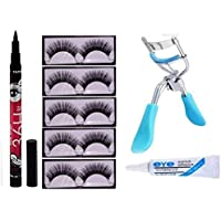 PREYANSH 5 PAIR EYELASH, EYELASH GLUE, EYELASH CURLER WITH 36 HRS EYELINER COMBO KIT
