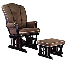 Shermag Combo Glider Chair and Ottoman, Pearl Pipping