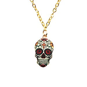 Dangle Drop Skull Cool Earrings Women Halloween Vintage Colors Enamel Pattern Costume Girl Stud Resin Charms Jewelry