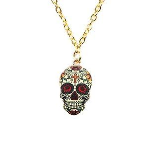 Dangle Drop Skull Cool Earrings Women Halloween Vintage Colors Enamel Pattern Costume Girl Stud Resin Charms Jewelry