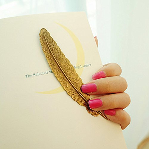 EKLOEN 6pcs Different Color Vintage Feather Metal Bookmarks Book Marker for School Supplies Stationery Gift by EKLOEN (Image #3)
