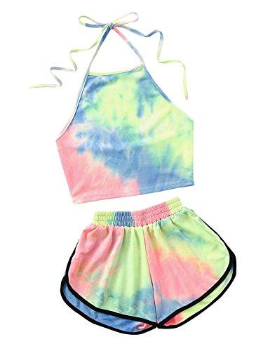 Verochic Women's Two Piece Tie Dye Set Halter Crop Top and Shorts Set (Green, Large)
