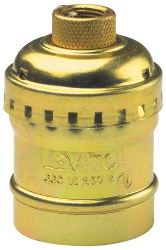 Leviton 9347-PG 014-09347-0Pg 1-Circuit Keyless Lamp Holder, 660 W, Incandescent, Medium, Pack of 1, Brass