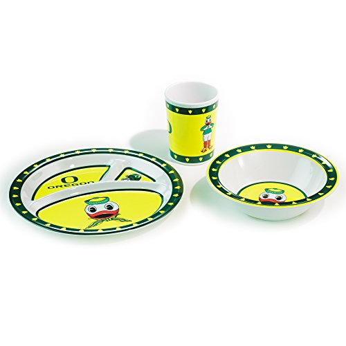 NCAA Oregon Ducks Kid's Dish Set (3-Piece), One Size, Black