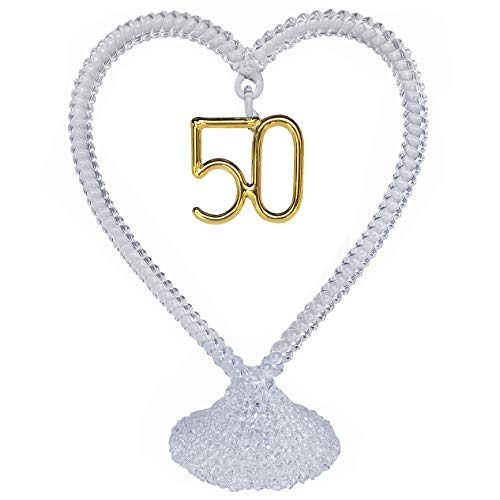 50th Anniversary Wedding Cake Topper Hand Blown Glass -