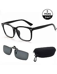 Lentes para Computadora + Clip de Lentes contra Sol, Gafas con Filtro de luz Azul para Bloquear el Dolor de Cabeza por Rayos Ultravioleta, Gafas Transparentes de Juegos + Gafas de Sol para Conducción