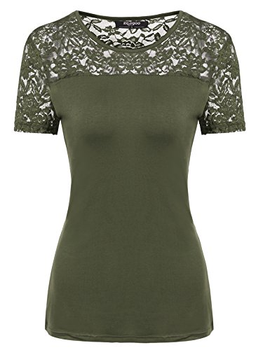 Zeagoo Women O-Neck Short Sleeve Lace Patchwork Casual Slim Fit T-Shirt (Large, Olive Green)