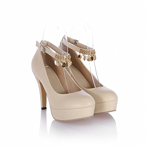 Carolbar Elegance Femmes Cheville-sangle Chaînes Pendentif Boucle Plateforme Haute Talon Robe Pompes Mary Janes Chaussures Beige
