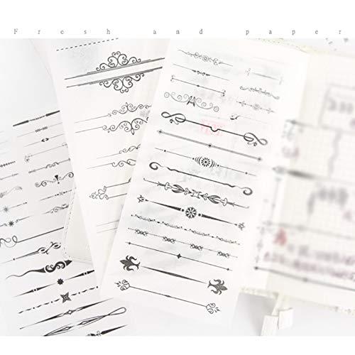 Decorazione per Bambino o studente DIY appunti di viaggio cartoline Hacoly 6 fogli Linea di separazione adesivo scrapbook stickers diario della carta della decorazione planner sticker Diario