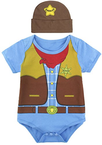 Mombebe Baby Boys' Cowboy Costume Bodysuit with Hat (6-12 Months, Cowboy)