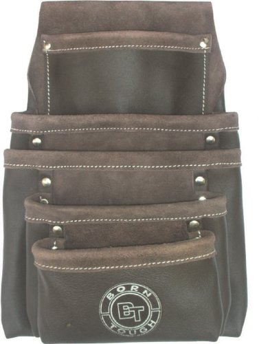 Born Tough 5 Pocket Oil Tanned Leather Nail & Tool Pouch Bag by Born Tough