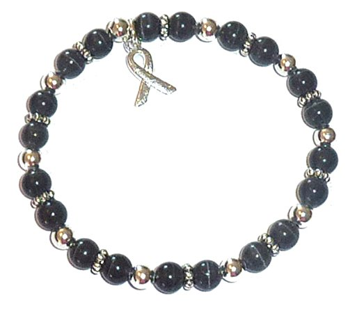 (Hidden Hollow Beads Cancer Awareness 6mm Beaded Stretch Bracelet, Adult size, Comes Packaged (Melanoma - Black) )