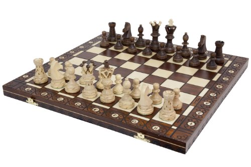 Wegiel Handmade European Ambassador Chess Set - Wooden 21 Inch Beech & Birch Board With Felt Base - Carved Hornbeam & Sycamore Wood Chess Pieces - Compartment Inside The Board To Store Each Piece (Glass Pieces For Sale Chess)